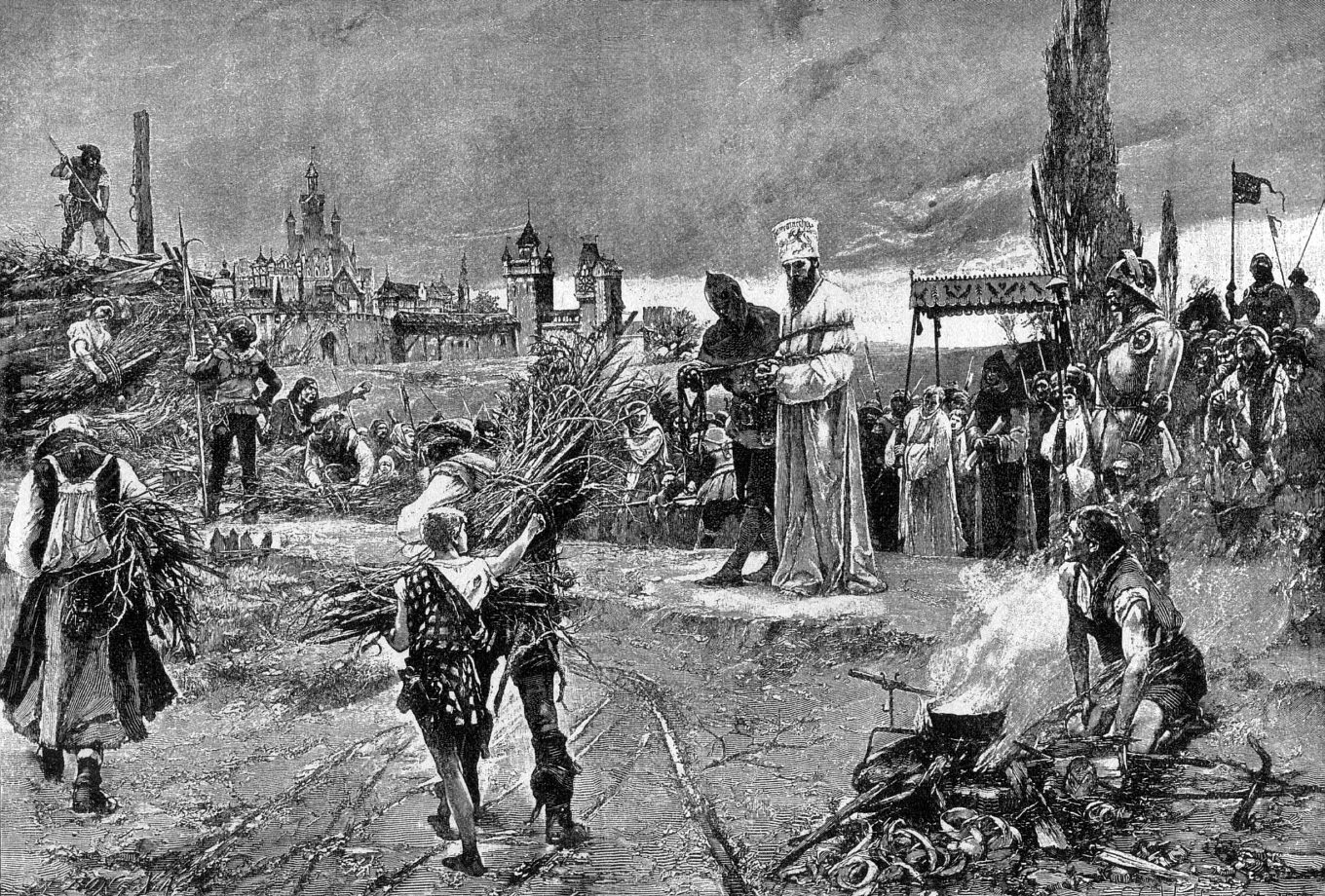 Executioners prepare to burn dissident Czech Catholic priest Jan Hus at the stake in 1415 AD.